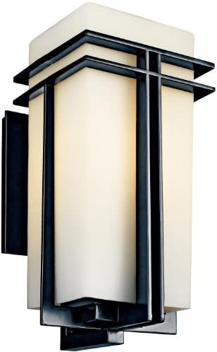 Kichler 49203BK, Tremillo Aluminum Outdoor Wall Sconce Lighting, 150 Watts, Black Painted