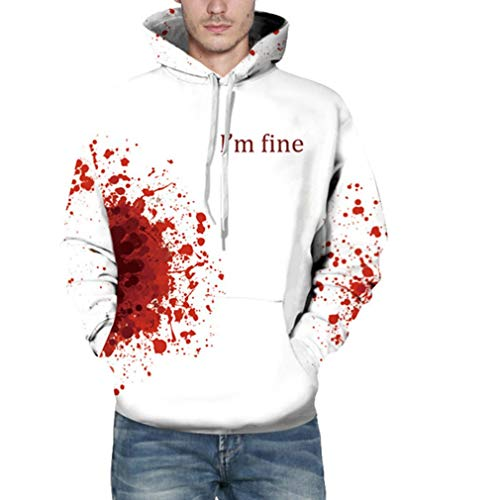 Halloween Costume Women Men Scary Skeleton Blood 3D Print Hoodie Sweatshirt -