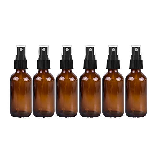 6 Pack Empty Amber Glass Spray Bottles,2oz 60ml Refillable Containers for Essential Oils, Cleaning Products, Aromatherapy, Durable Black Trigger Sprayer Fine Mist