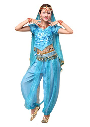 Maylong Women's Silver Shell Decoration Top Lantern Pants Belly Dance Workout (3 Pieces, Sky Blue)