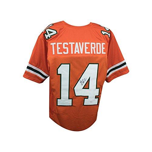 Testaverde Football Vinny (Vinny Testaverde Autographed Miami Hurricanes Custom Orange Football Jersey - JSA COA)