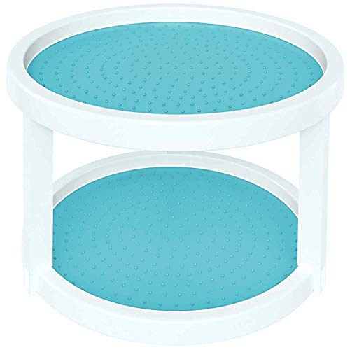 Home Intuition 2-Tier Twin Turntable Non Skid Lazy Susan for Cabinets and Pantry, Turquoise