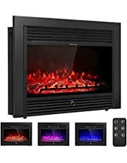 """Giantex 28.5"""" Electric Fireplace Insert with Heater Glass View Log Flame with Remote Control Home"""