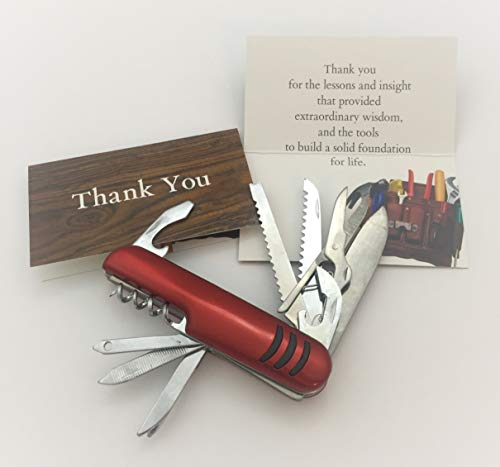 Smiling Wisdom - Tools to Build a Solid Foundation - Multifunction Compact Pocket Army Knife Gift Set - Appreciation Gift Set - Mentor, Coach, Dad, Teacher, Him, Her - Red - New ()