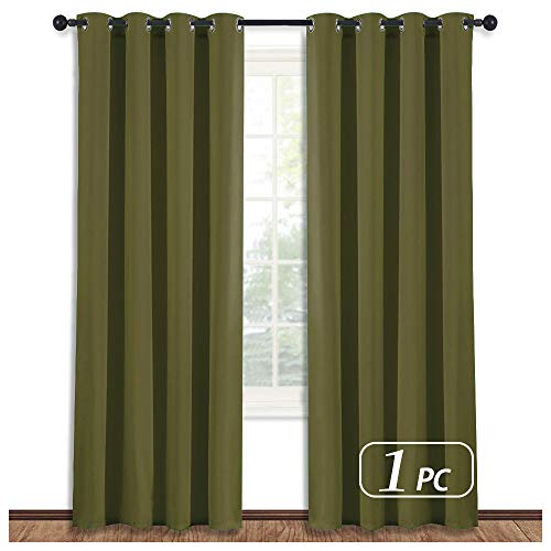 NICETOWN Blackout Curtain Blind Window Panel - (Olive Green Color) Home Decor Window Treatment Drape Modern Design Drapery for Patio Door Room, 52Wx84L,1 Panel ()