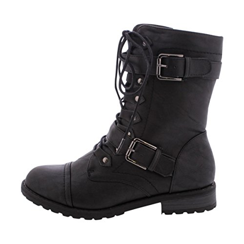 Wild Diva Lounge - Women's 2 Buckle Military Boot - Black (Womens Military Boots)