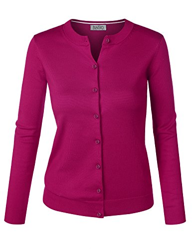 BIAGIO Women Button Down Long Sleeve Basic Soft Knit Cardigan Sweater Magenta Large
