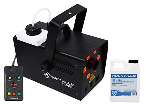 Rockville R1200L Fog/Smoke Machine w LED's, 7 Channel DMX+2 Remotes+Gallon Fluid ()