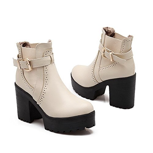 Low PU AgooLar Toe Heels Beige Closed Pull on top Women's Round High Boots xzT4qgF