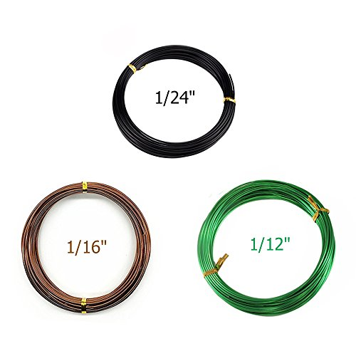 Set of 3 Sizes Color Long Lasting Bonsai Training Wire with Aluminum - 1.0mm, 1.5mm, 2.0mm(32 Feet Each Size) - Corrosion and Rust Resistant, 100Pcs plastic plant labels(Assorted Color )