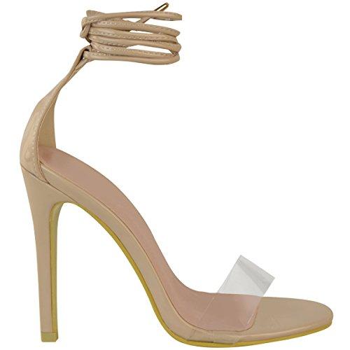 Mode Dorstige Dames Hoge Hak Nauwelijks Daar Duidelijk Perspex Enkelbandje Sandalen Maat Nude Patent
