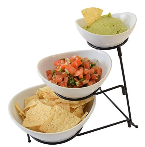 Tier Chip 2 (3 Tier Oval Chip And Dip Set Party Food Server Display Set Three Tiered Snack Server with metal rack)