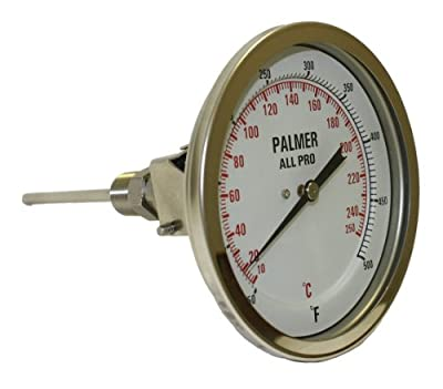 "Palmer 5AP2.550/300F&C All Pro Welded Stainless Steel 304 Dual Scale Bimetal Thermometer, 50/300 F and 10/150 C Range, 5"" Dial, 2-1/2"" Stem, 1/2"" NPT Connection, All-Angle Mount"