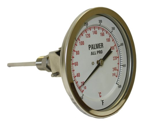 "Palmer 5AP2.50/250F&C All Pro Welded Stainless Steel 304 Dual Scale Bimetal Thermometer, 0/250 F and -20/120 C Range, 5"" Dial, 2-1/2"" Stem, 1/2"" NPT Connection, All-Angle Mount"