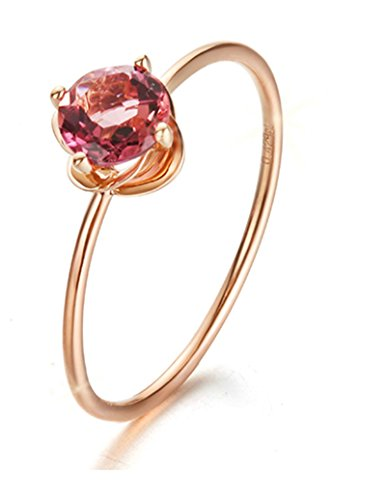 Gnzoe Rose Gold Women Wedding Rings Solitaire Engagement Rings Flowers Rose Gold with Rose 0.528ct Diamond Size 8.5 by Gnzoe