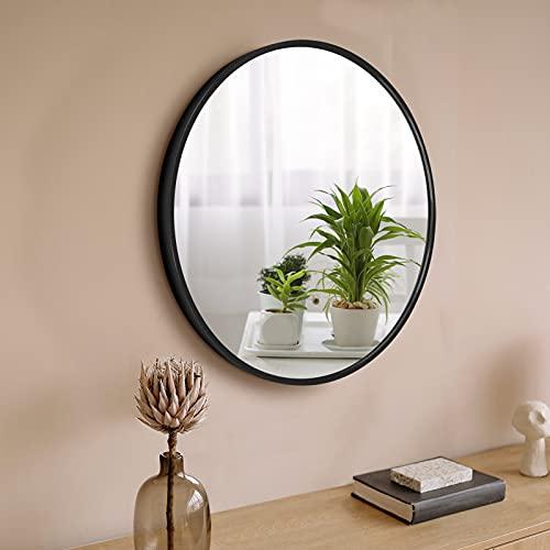 FAUETI Round Mirrors for Wall,16 Inch Black Circle Bathroom Mirror,Aluminium Metal Frame Vanity Mirror Decorative for Bedroom & Living Room