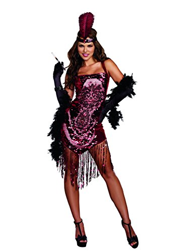Dreamgirl Women's Gatsby Girl 1920's Flapper Costume, Burgundy, Large