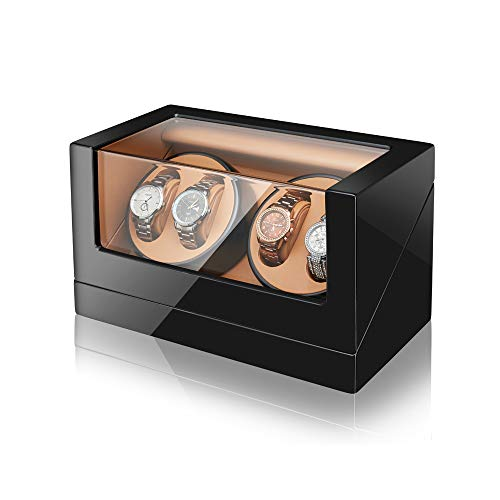 (Automatic Watch Winder, Sepano Quad Automatic Mechanical Watch Winder for 4 Watches,Japanese Mabuchi Motor Rotator (Black+Brown))