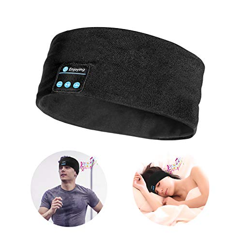 Bluetooth Sleep Headband Headphones, LC-dolida Bluetooth Wireless Music Sleeping Headsets Sport Headbands Built-in Speakers Microphone for Sleeping, Workout, Running, Yoga, Black