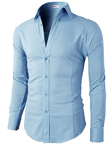 H2h mens wrinkle free slim fit dress shirts with solid for Wrinkle free dress shirts amazon