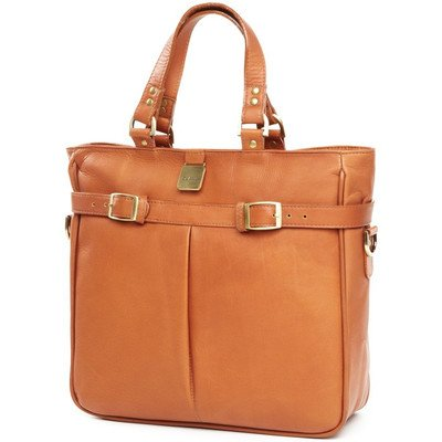 Pleated Buckle Tote Bag Color: Tan