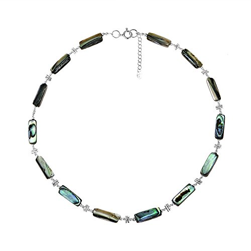 Hand Polished Link Necklace (Exotic Abalone Shell Thai Karen Hill Tribe and .925 Sterling Silver Link Necklace)