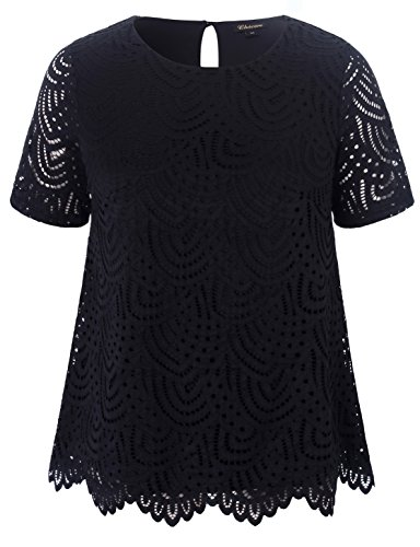 Chicwe Womens Plus Size Smart Scalloped Lace Solid Top - Casual and Work Blouse