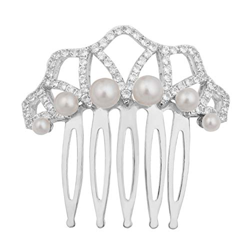 (.925 Sterling Silver Crested Bridal Hair Comb with Cultured Freshwater Pearls and White Topaz)
