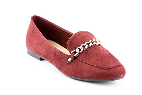 CALICO KIKI Women's Casual Slip-on Penny Loafer Flats Comfort Shoes Burgundy