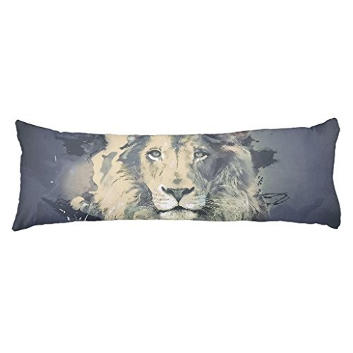 UOOPOO Cosmic Lion King Polyester Body Pillow Cover Square 20 x 54 Inches for Bed Two Sides
