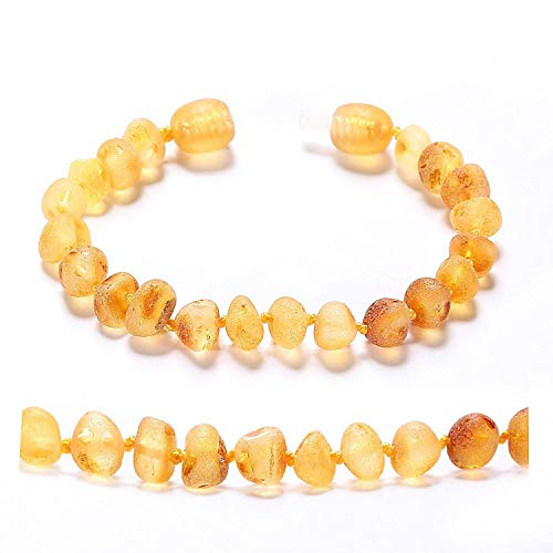 FightLY Baltic Amber Teething Bracelet/Anklet for Baby Simple Package Lab Tested Authentic 4 Sizes 10 Colors,Lemon Raw,China,Large 20cm