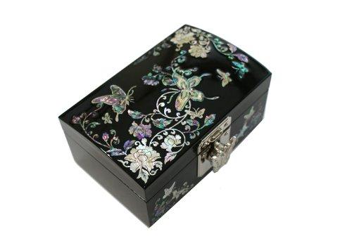 Abalone Box (Jmcore abalone shell Flower & Butterfly Pattern Jewelry Box Display Nacre Jewellry Case)