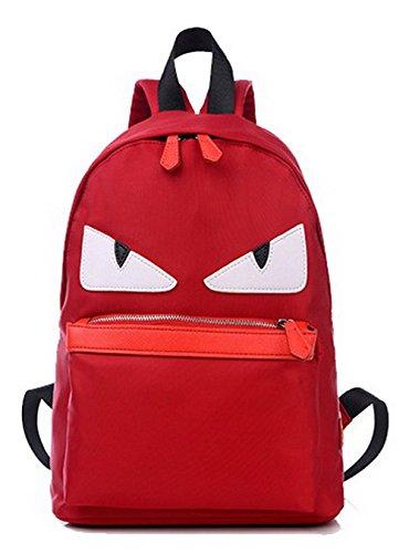 AgooLar Mujeres Nylon Viajar Casual Mochilas Daypack Bolsas de hombro, GMXBA181409, Negro Rojo-l