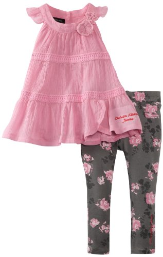Calvin Klein Little Girls' Top And Printed Pant