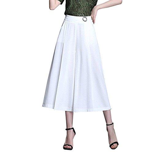Elastische Delgado Mujeres Swing Laterales Largos Bolsillos Moderno Plisado Elegantes Cómodo Alta Pants Moda Blanco Estilo Casual Cintura Color Casuales Pantalones Anchos 3 Taille 4 Sólido Cxvw6tq