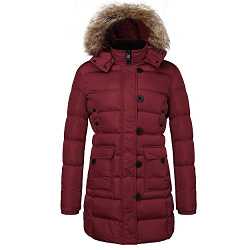Del Rio Coat (ELORA Women's Winter Puffer Mid Length Cargo Pocket Coat Fur Trim Removable Hood,Rio Red,3X)