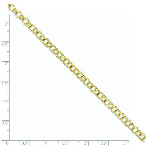 """10 k Solid Double Link-Bracelet à charms - 8 """"- Fermoirs-Mousquetons supérieure Doré Grade que or 9 carats"""