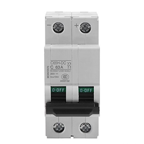 (Akozon Miniature Circuit Breaker, DC 250V 2P Low-Voltage Miniature Air Circuit Breaker Solar Energy Switch 16A/32A/63A for Solar Panels Grid System, Wind and Solar Hybrid System(63A))