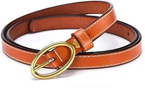 Z YY Cinturones de Vaqueros de Cuero Genuino de Piel de Mujer con Hebilla  de Punta única (Color   Orange) 1c9ef33acfb4