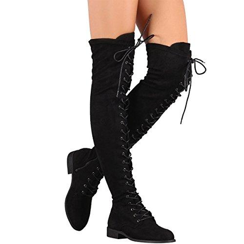 Wildes Diva Frauen Round Toe Vegan Suede Militär Kampf Lace Up Over The Knee Boots Schwarz