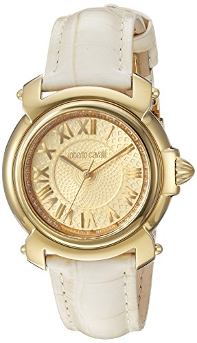 Ladies Franck Muller - Roberto Cavalli by Franck Muller Women's Swiss Quartz Stainless Steel and Leather Casual Watch, Color:Champagne (Model: RV1L005L0016)