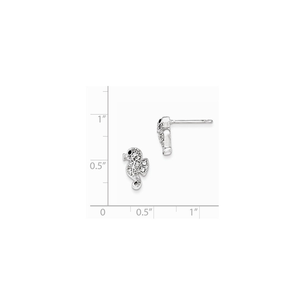 Diamond2Deal 925 Sterling Silver Rhodium Plated Cubic Zirconia Seahorse Post Earrings
