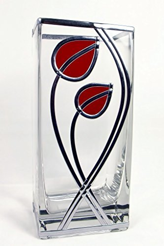 Hand Decorated Art Nouveau/Art Deco Leaves & Line Glass Vase. Charles Rennie Mackintosh Influence Ideal Birthday, Wedding Or Anniversairy Gift