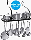 VDOMUS Wall Mount Pot Pan Rack, Kitchen Cookware Storage Organizer, 24 by 10 in with 10 Hooks, Black