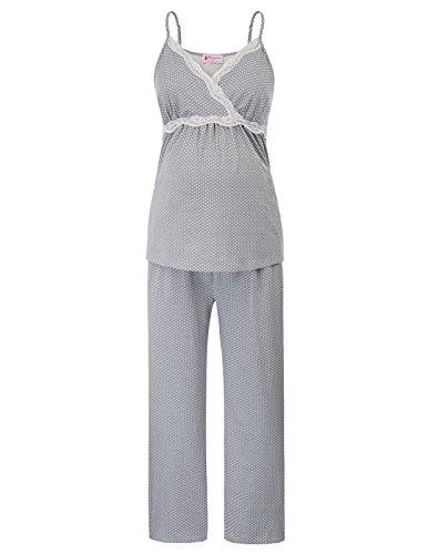Women Soft Pajamas Set Nursing Breastfeeding V Neck Maternity Sleepwear, 1008-grey, Small