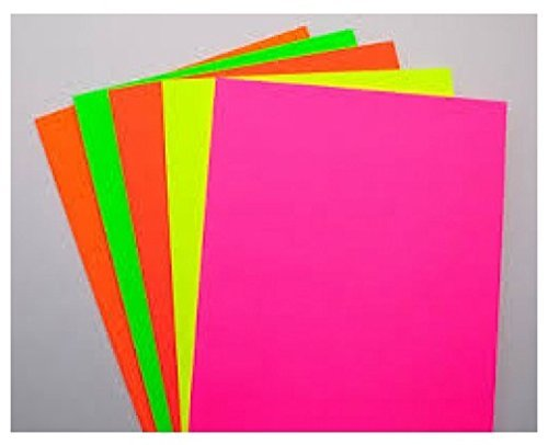 Zap Impex® Sheets A4 Size Double-Sided Multicolor Fluorescent Neon Craft (Assorted Colors) Pack of 50