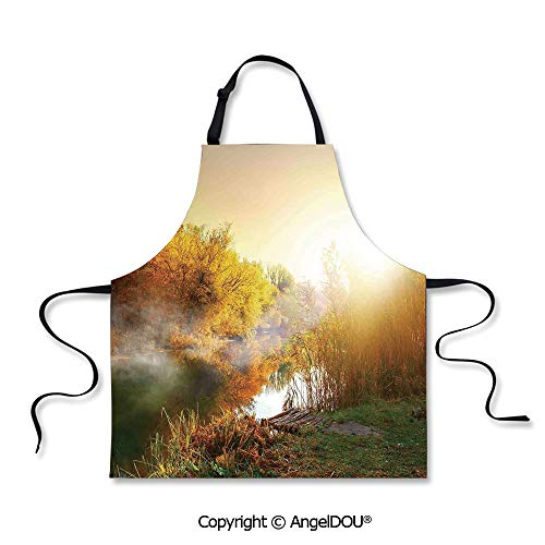 SCOXIXI Printed Unique Cool Kitchen Apron Secluded Misty Sunrise Over River Fog Autumn Sunshine Leaves Dawn Trees Shrubs for Kitchen Men Women use.