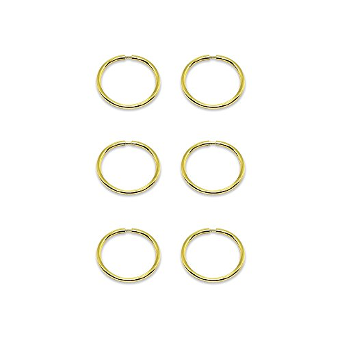 - 14K Gold Tiny Small Endless 10mm Thin Round Lightweight Unisex Hoop Earrings, Set of 3 Pairs