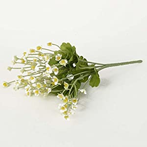 Artificial Flower 5 Branch Bounquet Artificial Eyebright for Home Decor Without Vase & Basket, 1 Flower, Light Yellow 50
