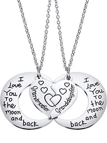 Tatuo 2 Packs Set Necklace Pendant Gift for Grandmother Granddaughter I Love You to The Moon and Back Necklace Jewelry for Women (Style -